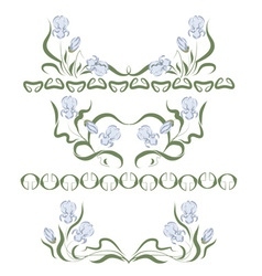 vignette with blue irises vector image vector image