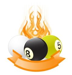 billiard ball emblem in flame vector image