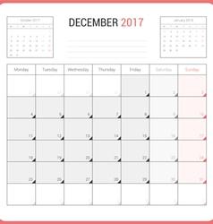 Calendar planner for december 2017 vector