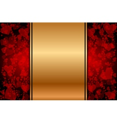 gold background with red hearts vector image