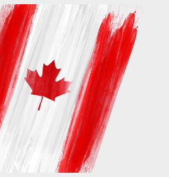 grunge canadian flag background with watercolor vector image