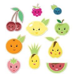 Smiley Faces Fruit Icons vector image vector image