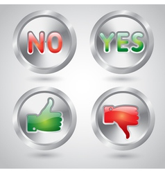 Yes and no thumbs up and down web buttons vector image