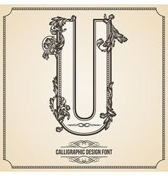 Calligraphic font Letter U vector image vector image