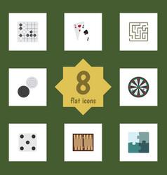 flat icon games set of dice arrow gomoku and vector image vector image