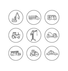 flat outline icons of construction special vector image vector image