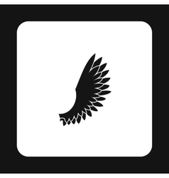 Fluffy birds wing with feathers icon simple style vector image