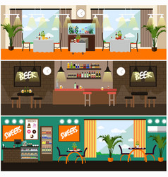 set of pub restaurant interior concept vector image
