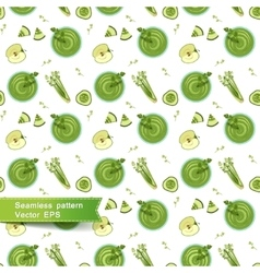 Seamless pattern with green smoothie of apples vector image