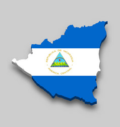 3d isometric map nicaragua with national flag vector image