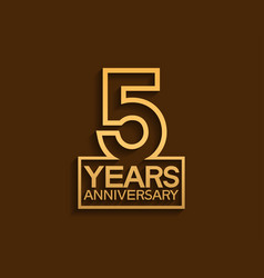 5 years anniversary design line style with square vector