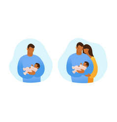 A black man holds baby in his arms and takes vector