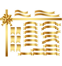 a set of assorted gold ribbons vector image