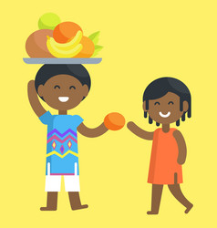 African boy holds tray and give orange to girl vector