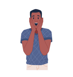 African surprised man with happy facial expression vector