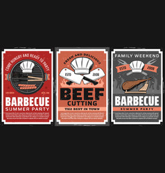 barbecue party and steak restaurant retro posters vector image
