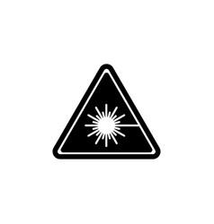 Beware laser beam warning radiation ray flat vector