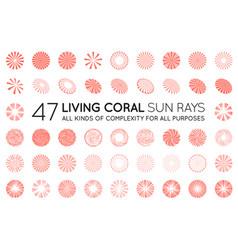big set sunburst rays sun in trendy coral vector image