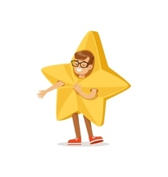 Boy In Golden Star Outfit Dressed As Winter vector image