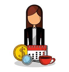 business woman calendar money coffee vector image