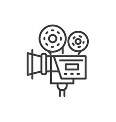 camera - line design single isolated icon vector image
