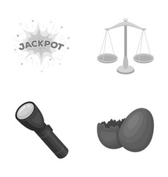 Casino lighting and other monochrome icon in vector