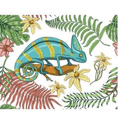 chameleon lizard tropical flowers seamless vector image vector image
