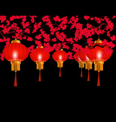 chinese new year in the park hung red chinese vector image