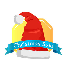 Christmas sale emblem santas hat with pompom icon vector