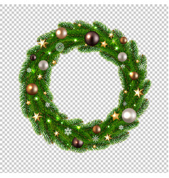Christmas wreath isolated transparent background vector