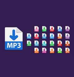 collection icons sign download mp3 vector image