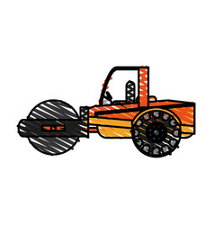 color crayon stripe road roller machine vector image