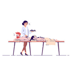 Couple on massage flat doodle spa procedure hot vector