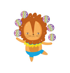 cute lion circus juggling balls vector image