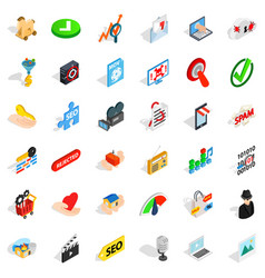 Cyber icons set isometric style vector