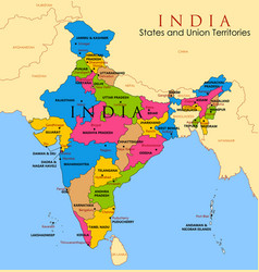 Detailed map of india asia with all states vector