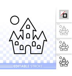 Dracula house simple line halloween icon vector