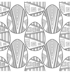 easter eggs black and white seamless pattern for vector image