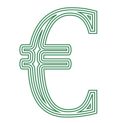euro european currency symbol icon striped vector image