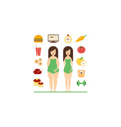 fat and slim female figures fast food and healthy vector image