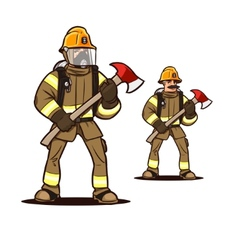 Firefighter with the fire axe vector
