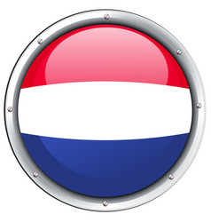Flag of netherland in round frame vector