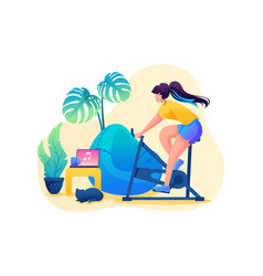 Girl is engaged in sports at home cycling vector