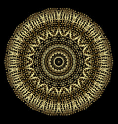 Gold 3d halftone mandala round luxury floral vector