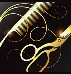 Gold scissors and comb for a beauty salon vector