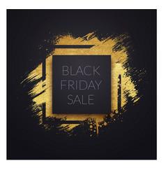 golden brush label for black friday sale vector image