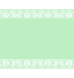 Green background with two lace ribbons vector