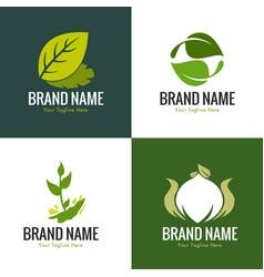 green leaf nature logo set vector image