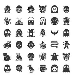 halloween character icon set in solid design vector image