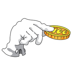 hand and money white vector image
